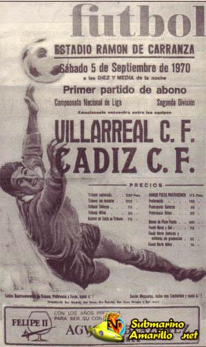 cartel del debut en segunda - El debut del Villarreal en Segunda (1970)