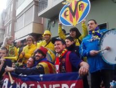 Aficiones del Villarreal y Barcelona en la previa