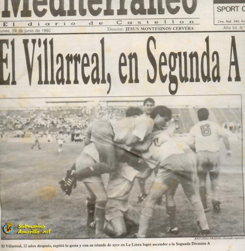 posrtada ascenso 92 - VILLARREAL CF, aniversario de un glorioso ascenso a Segunda