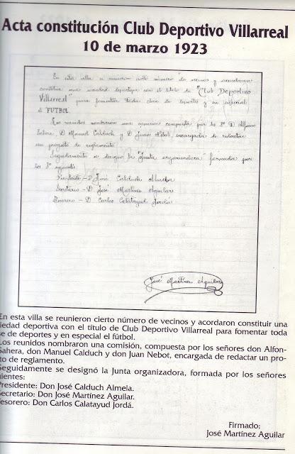 historia cd villarreal fernando peralt libro - Tal día como hoy se constituyó el CD Villarreal