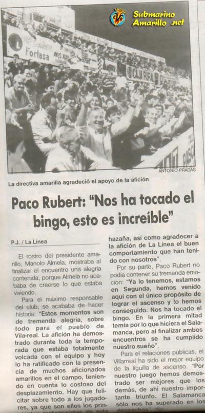 el bingo - Un 28 de Junio: ascenso del Villarreal CF en La línea