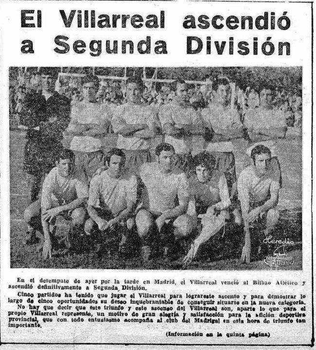 ascenso 1970 mediterraneo 650x719 - Un 7 de Julio, fecha del primer ascenso a Segunda del Villarreal CF