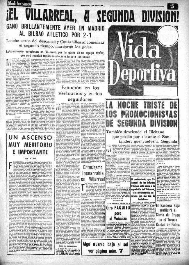 ascenso 70 villarreal noticia mediterraneo 650x911 - Un 7 de Julio, fecha del primer ascenso a Segunda del Villarreal CF