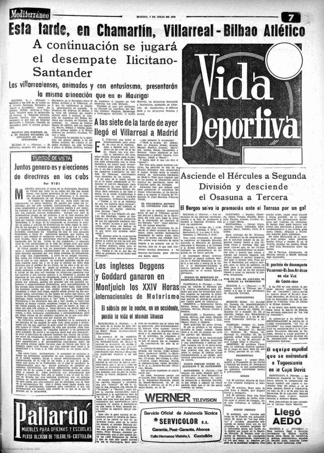 previa 650x910 - Un 7 de Julio, fecha del primer ascenso a Segunda del Villarreal CF