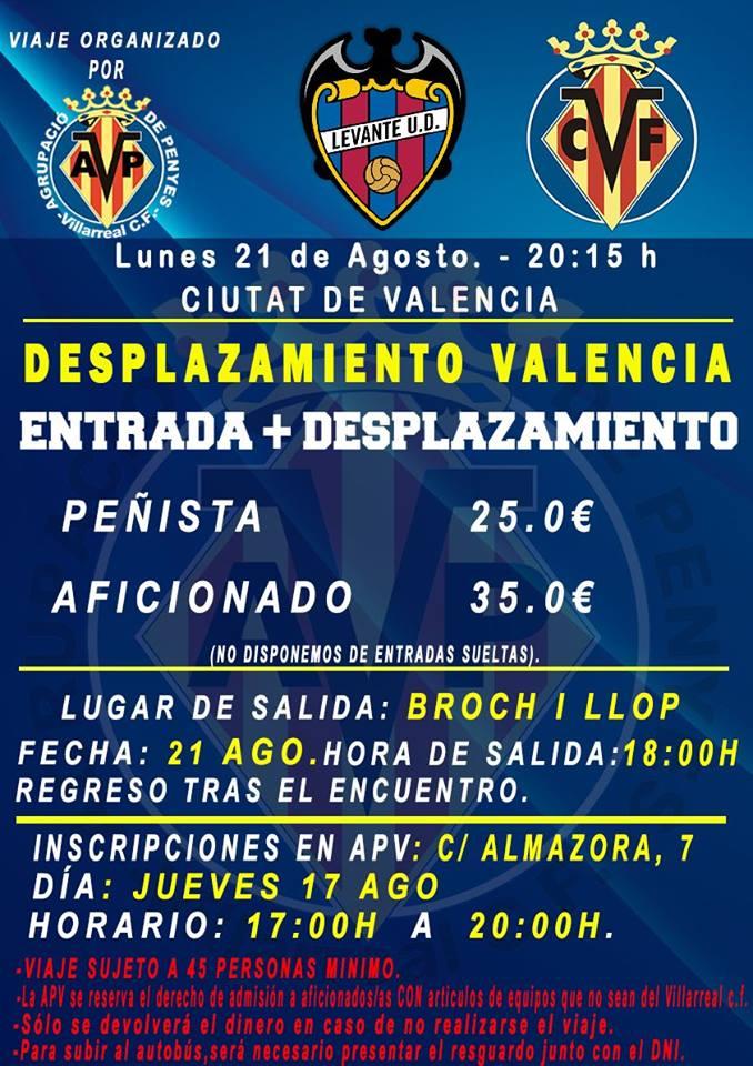 Levante-Villarreal, desplazamiento de la afición