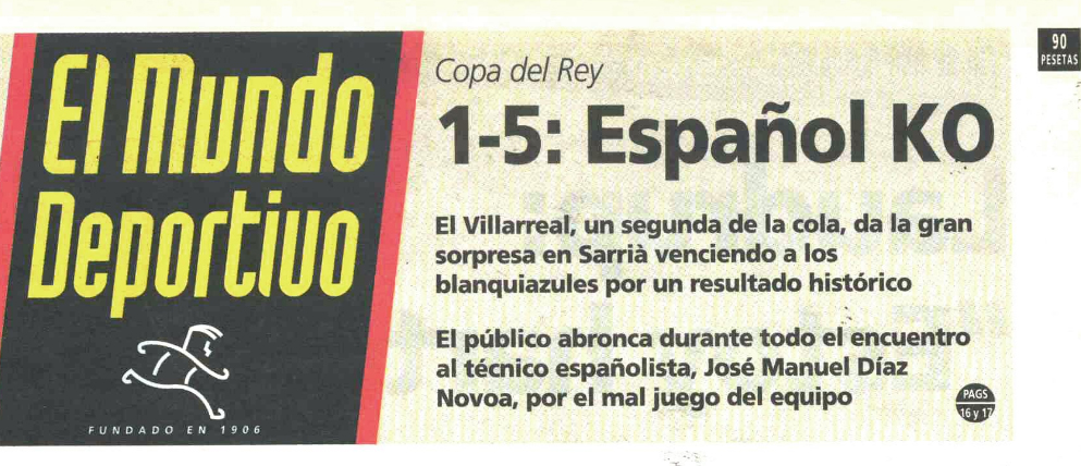 el mundo deportivo espanyol - Espanyol 1-Villarreal 5, la machada de Sarrià