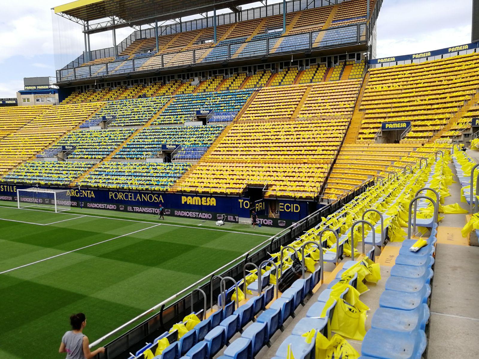 Miles de banderitas para recibir al Villarreal en el derbi