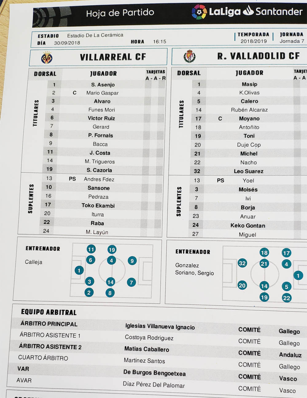 alineaciones - Villarreal-Valladolid EN DIRECTO