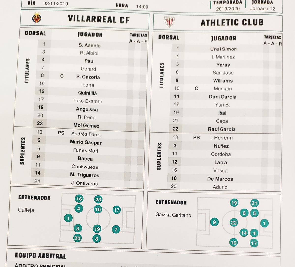 VILLARREAL-ATHLETIC en directo