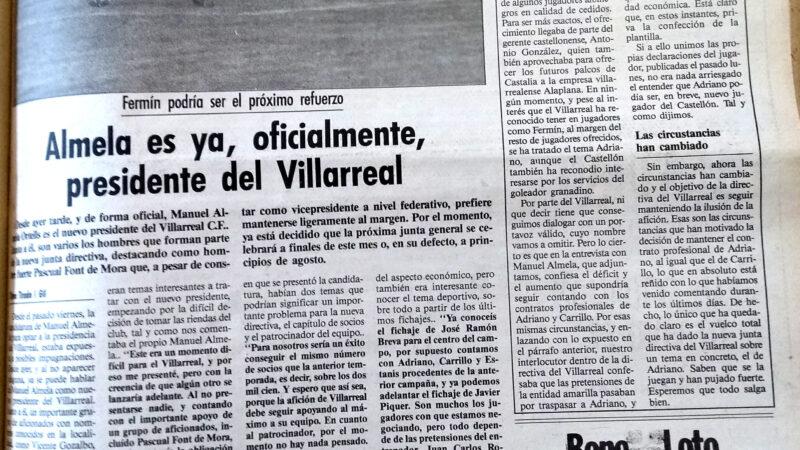 Manolo Almela nuevo presidente amarillo. El Villarreal un 18 de julio