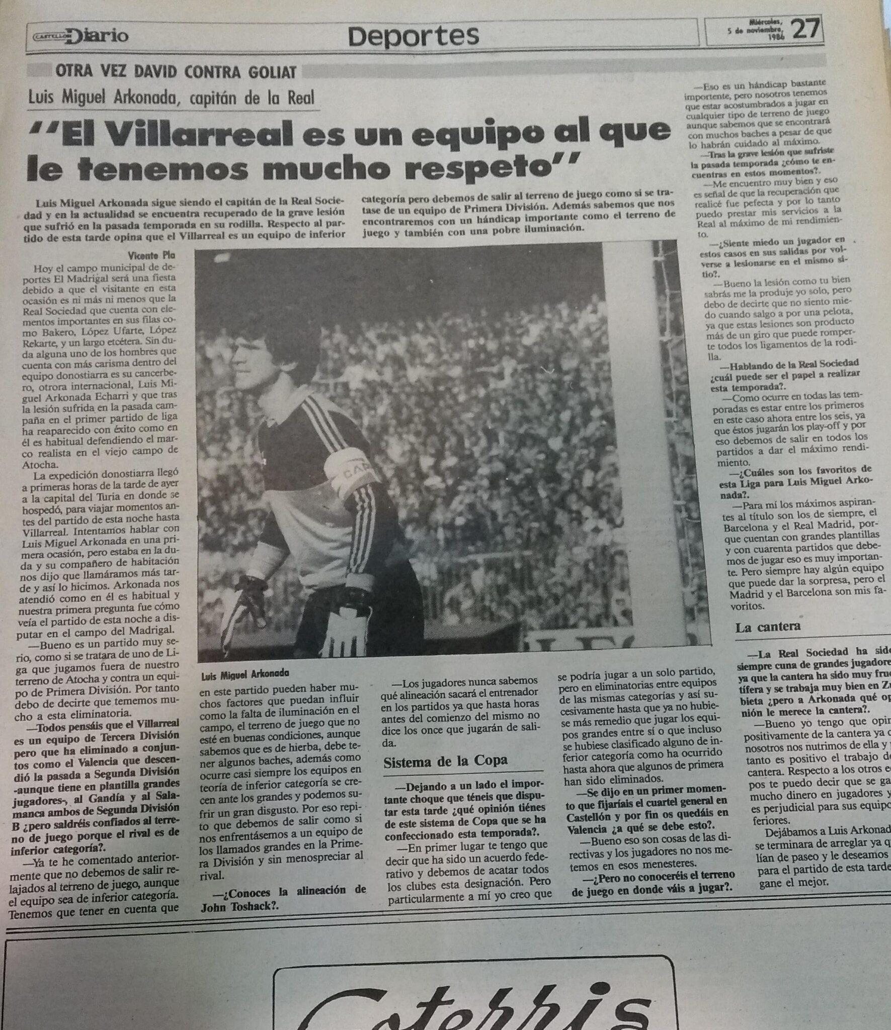 Arconada en El Madrigal. El Villarreal un 5 de noviembre